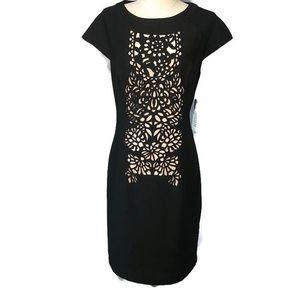 Nue by Shani 6 black cap sleeve laser cut dress